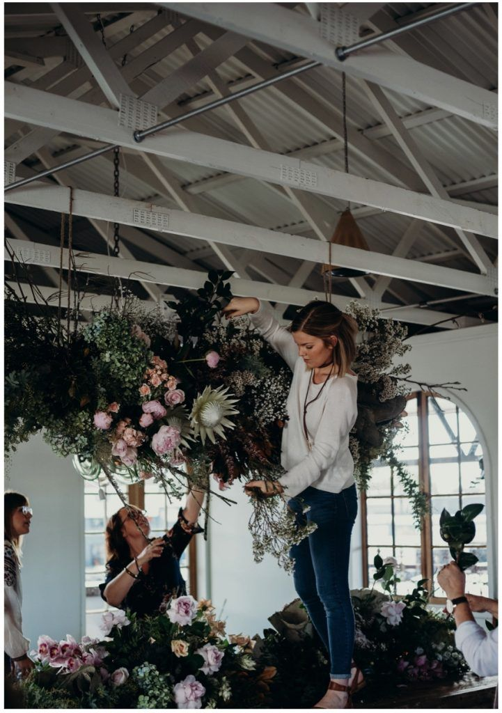 We kicked things off with a floral installation masterclass with our RockStar judge Holly Hipwell, of The Flower Drum. Using a gorgeous selection of in-season blooms and branches including wedding flower staples like peonies, roses and king proteas, the florists worked together to create a stunning hanging installation suspended from exposed timber beams and flowing over the enormous handcrafted timber dining table.