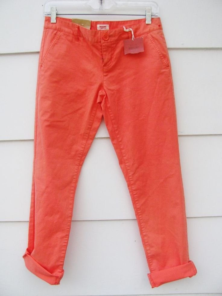 MOSSIMO SUPPLY CO Women's Orange Skinny Jeans Lower Waist Straight Hip Sz 5 #Mossimo #SlimSkinny