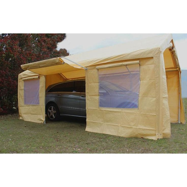 King Canopy Tan AFrame Enclosed Carport with Awning 10
