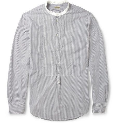 Massimo Alba Striped Cotton Grandad Collar Shirt