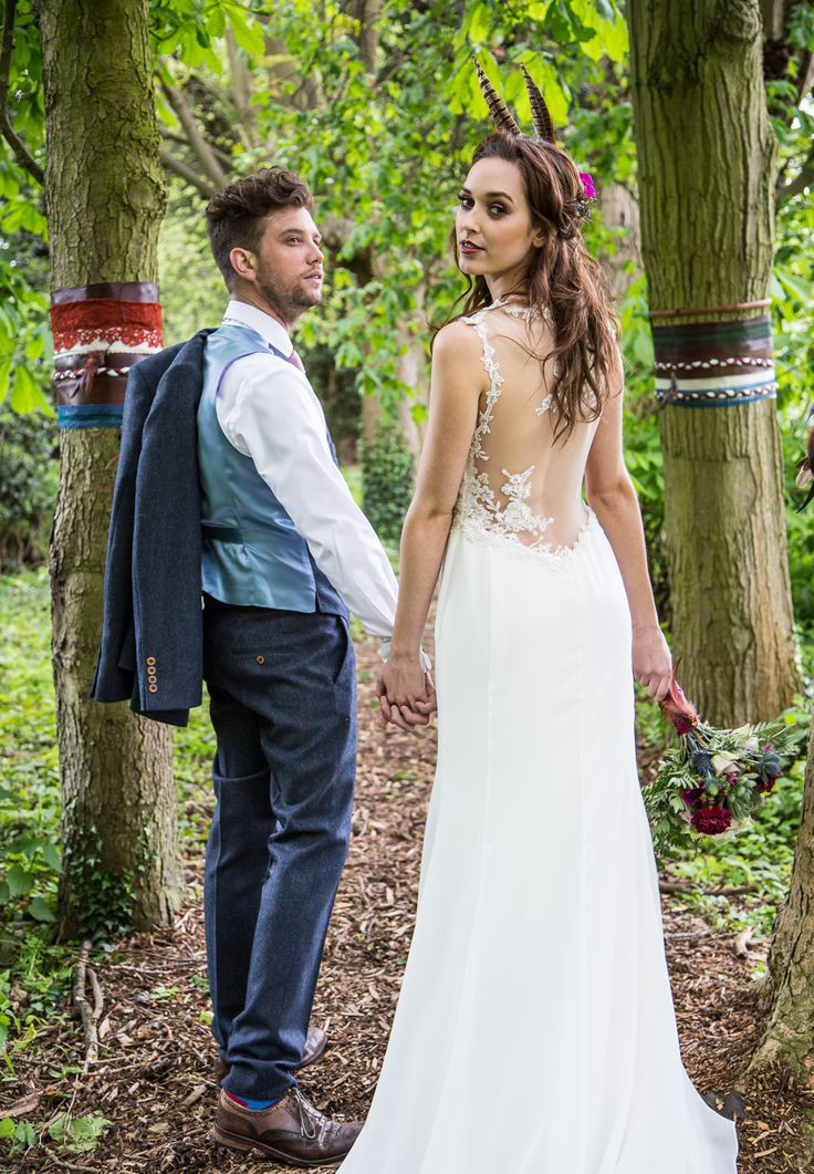 Lace low back Rembo Wedding Dresses | Bohemian Outdoor Wedding | Inspiration Shoot | The Letchworth Centre | Styling From Fleur De Lace Weddings And Events | Flowers By Pots In Bloom | Images by Hayley Pettit Photography | http://www.rockmywedding.co.uk/ethereal-woodland-wedding-inspiration/