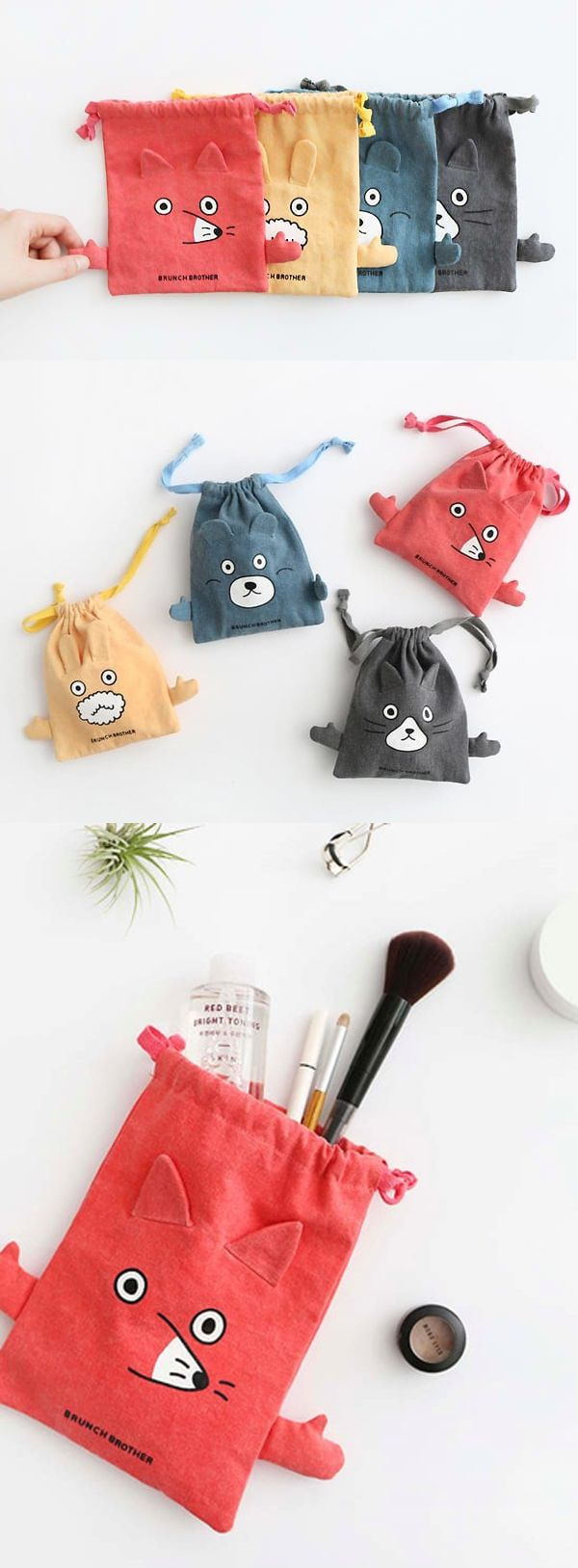 The Brunch Brother Drawstring Pouch is super adorable! This pouch features cute and colorful animal friends with cute arms on both sides! The pouch is perfect for carrying your items, and the drawstrings make it easy to store and take them out of the pouch!