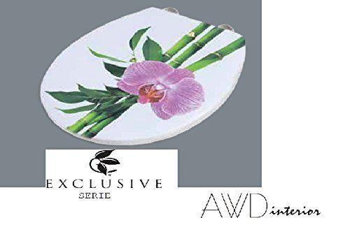 Exclusiver Designer WC DECKEL-Toilettendeckel-Modell:CONGA-BAMBUS mit Orchidee mit Absenkautomatik-EASY Click Funktion NEUHEIT -MDF -Maße:43.5x37,3cm AWD02181158