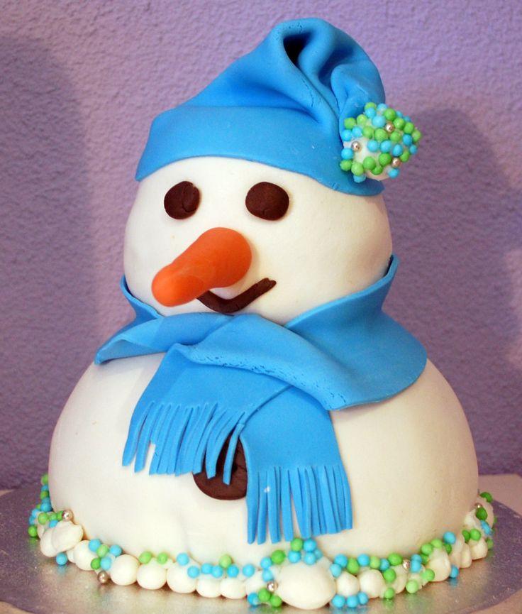 Snowman cake - sneeuwpop taart