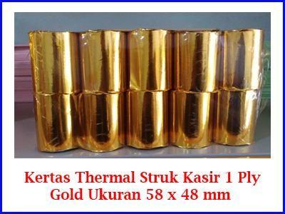 Kami menjual kertas struk Thermal 1 Ply Ukuran 58 x 48 mm untuk mesin printer kasir harga murah kualitas Gold