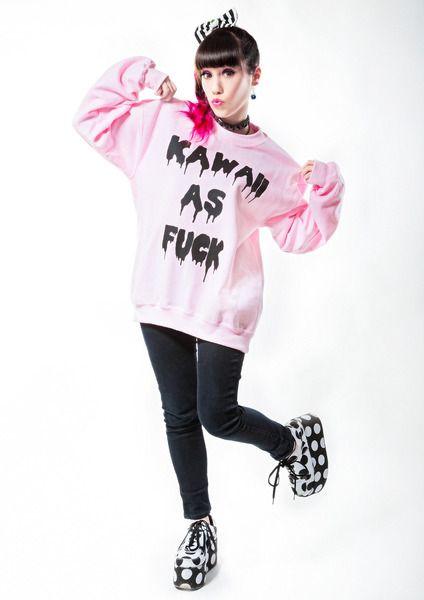 Pinker+pastel+kawaii+as+fuck+Pullover+von+Mademoiselle+Opossum+auf+DaWanda.com
