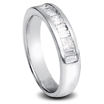 White Gold ladies wedding band with princess cut and baguette cut diamonds in channel setting