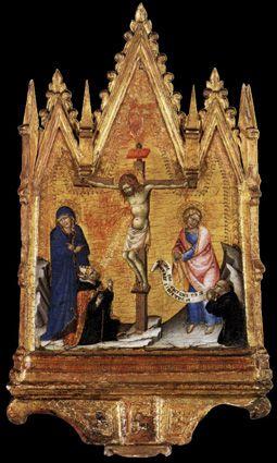 Crucificação com Doador (1380). Francesco di Vannuccio (activo em 1356-89). Madeira de álamo (39 x 23 cm, com moldura). Staatliche Museen, Berlin.