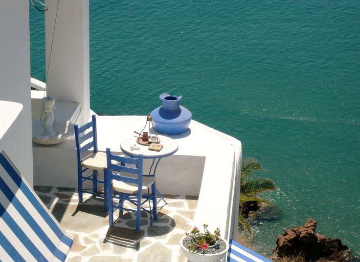 Greek Coffee in front of the Aegean Sea. Anafi island - Greeka.com | Greece | Greek islands