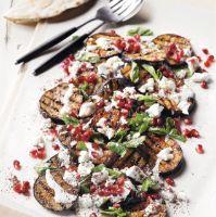 Aubergine salad with feta & mint dressing