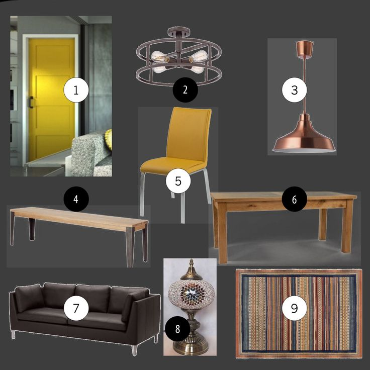 Background: Farrow and Ball Manor House Grey, 1. Door paint F&B Babouche, 2. Wayfair ceiling light, 3. Ikea copper pendant, 4. Wayfair dining bench, 5. Wayfair jade upholstered dining chair, 6. Wayfair solid oak extendable table.