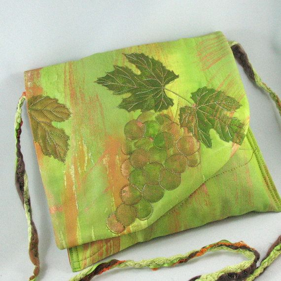 Painted Cross Body Purse Grapes and Leaves by KathyKinsella