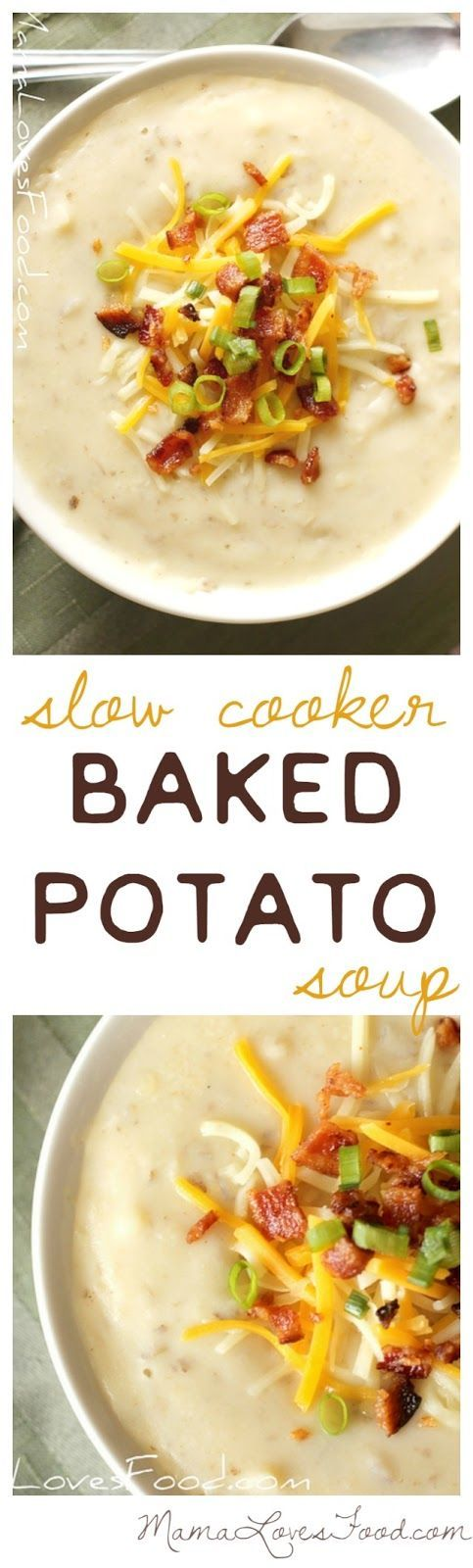 Slow Cooker Baked Potato Soup- Great Crock-Pot soup idea for dinners or lunches. Plus you can freeze it too!