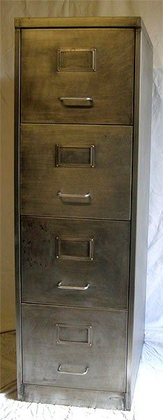 Retro Furniture:Filing Cabinet Polished Metal buffed and furniture polish (beeswax type)