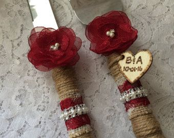Wedding cake knife set, Rustic cake knife set, Burlap cake knife & server set,burgundy cake knife set,Wedding Accessory,YOUR CHOICE COLOR -    Edit Listing  - Etsy