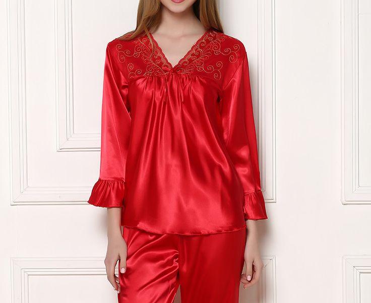 South Korea Silk Couple Winter Pajama Set