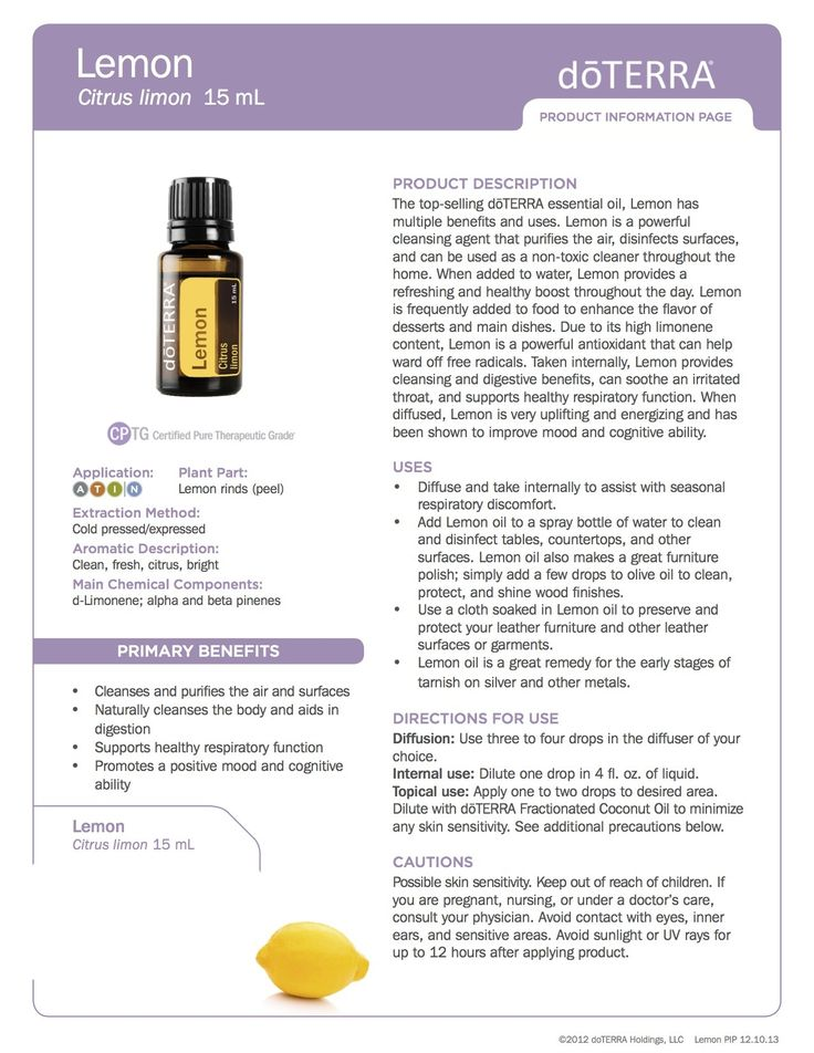 Lemon doTerra Essential Oils product information