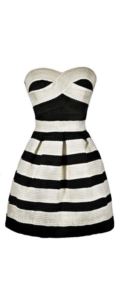 Behind Bars Black and Ivory Stripe A-Line Dress  www.lilyboutique.com