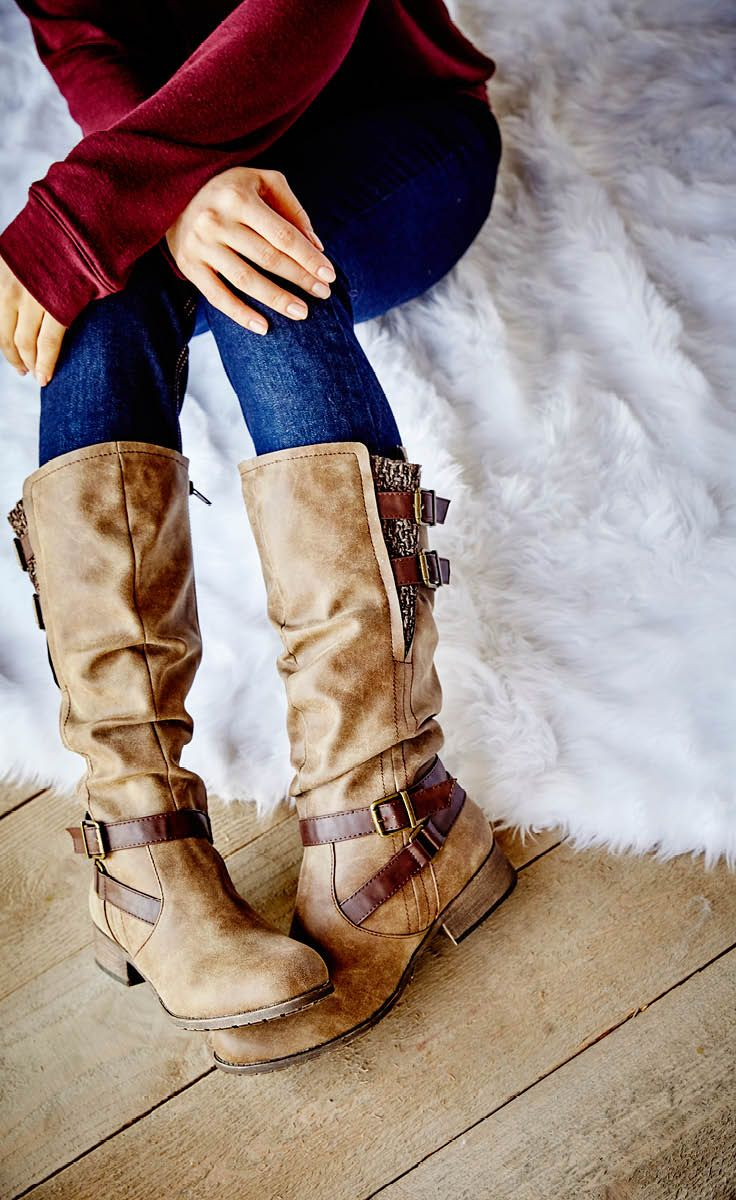 Fall is all about boots–the season's must-have accessory! Get the most out of your pair by picking a neutral color with a unique design. These riding boots offer just the right knit and buckle detailing and are versatile enough to be worn with jeans or a dress. They're the perfect addition to your boot addiction.
