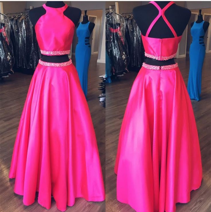 pink ball gowns,halter prom dress,ball gowns prom dress,two