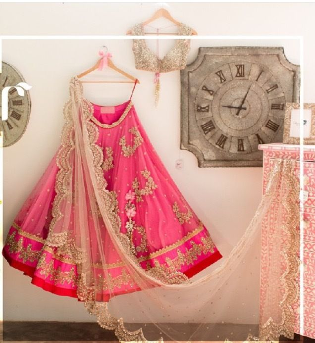 Anushree Reddy hot pink and baby pink lehenga choli online with free shipping