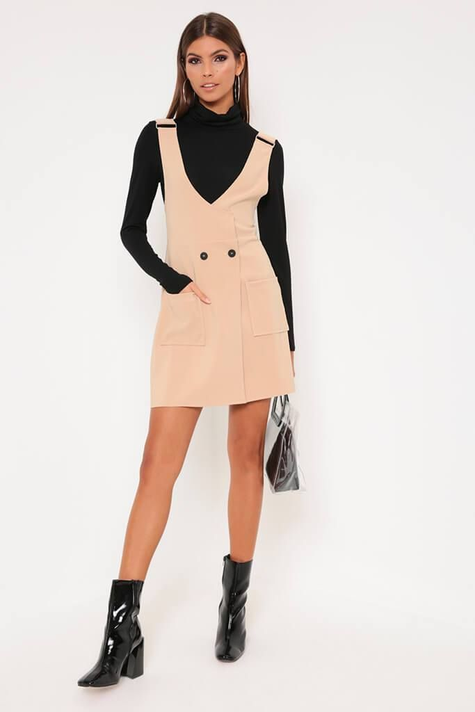 c054ff32d7a Camel Pinafore Dress - 6   BEIGE. Black Pinafore Dress - PDP – I SAW IT  FIRST ...