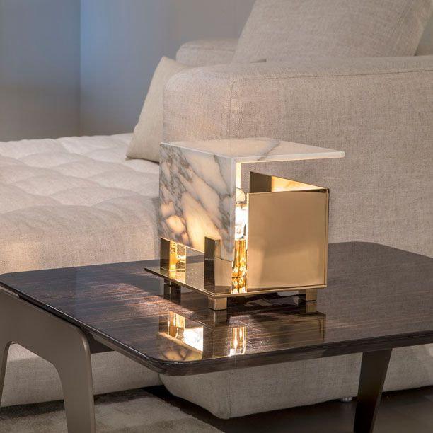 Cubo small table lamp polished chrome white marble designer william pianta