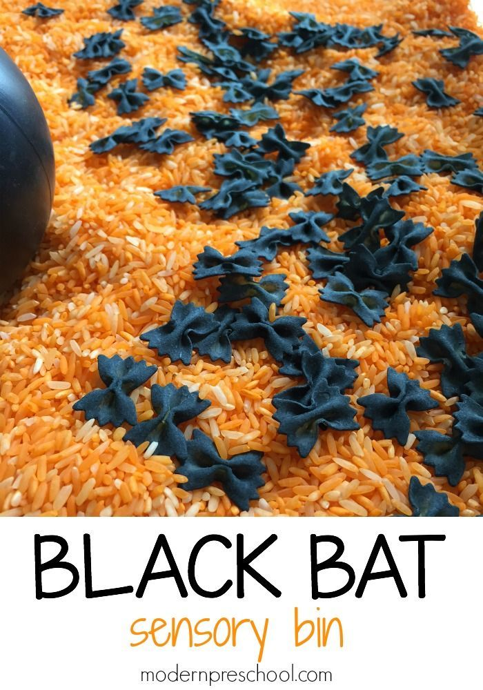 """Bat"" Sensory Bin Made From Bow-tie Pasta (from Modern Preschool; "" Swooping, swooping little bat, how I wonder where you're at. Up above the trees so high, in the night you like to fly. Swooping, swooping little bat, how I wonder where you're at?"")"