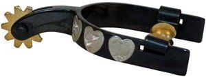 """Black Youth Heart Spurs . $19.99. From Showman Products! Showman black steel silver youth size show spur with silver hearts. """" band, 1 """" shank including rowel, and 2 """" boot opening. Youth Size. Priced per pair."""