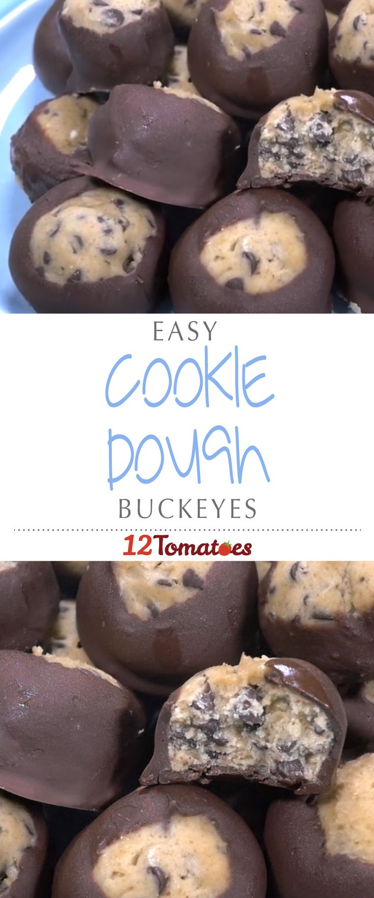 Cookie Dough Buckeyes | The dough is a cinch to make and then all you have to do is dip each adorable buckeye into some melted chocolate and let them all cool.