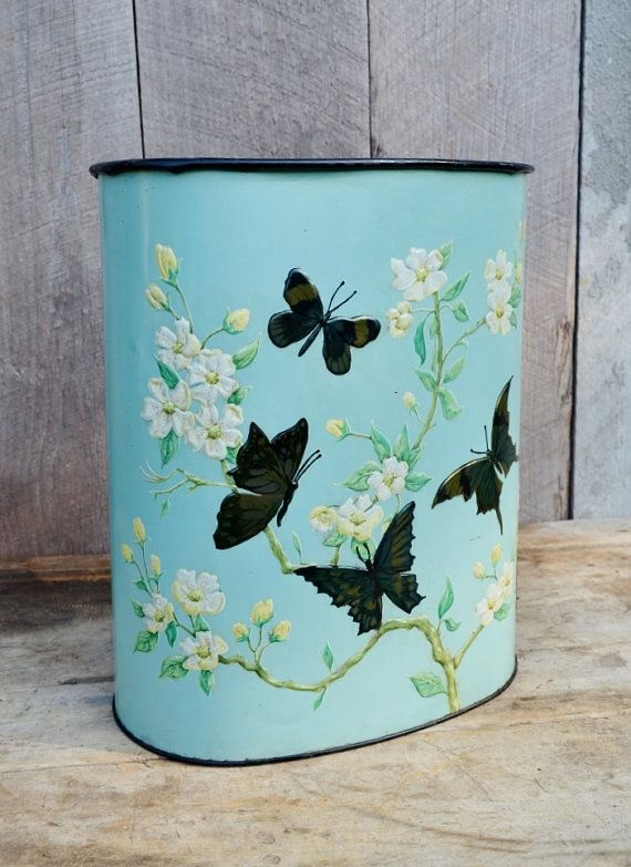 Aqua Butterfly Trash Can Weibro Waste Basket Metal