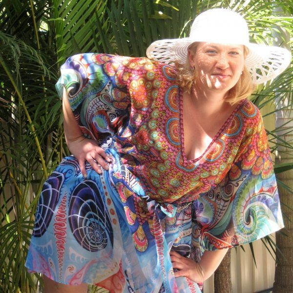 sheer Beach Kaftan Digital Print Resortwear with tie belt 93 cm long