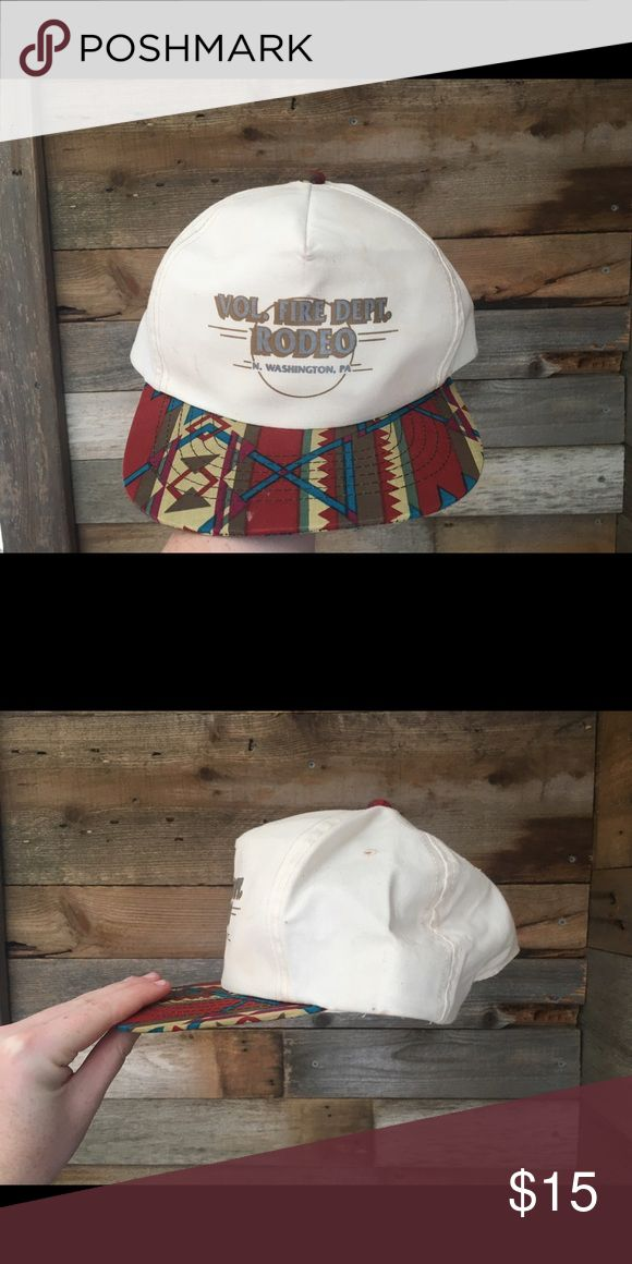 "Vintage Aztec Snapback Hi! I'm selling my vintage ""Vol. Fire Dept. Rodeo N. Washington, PA"" hat. I bought it for $45 from a vintage hat dealer on Instagram, and i just don't wear it enough. Has a beautiful southwestern brim, and nice, light canvas! Since it is vintage, it does have fray, minor marks on forehead band, but nothing too visible! Accessories Hats"