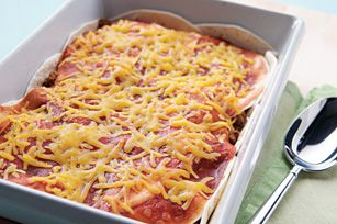 Easy Taco Bake recipe... (Add refried beans and use Corn Tortillas, and forget the box). =)  Just sayin'.