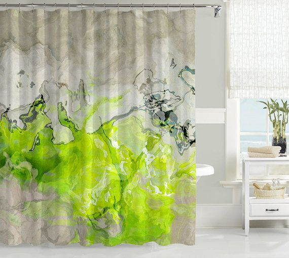 Contemporary shower curtain, abstract art bathroom decor, lime green and warm gray shower curtain, bathroom  - love accessories, Lime Love  Love the entire website on etsy!