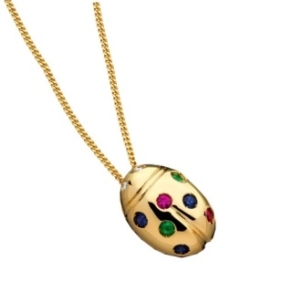 Ladies' Necklace in 18Kt Yellow Gold  with diamonds, emeralds, sapphires and rubies by Flores Gioielli Personal Jewels