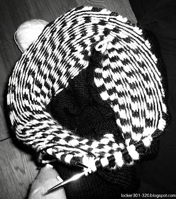 A knit sweater forming