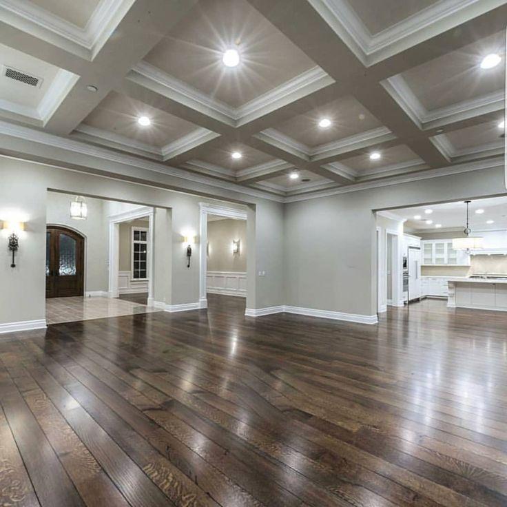 Beautiful Coffee Ceiling & Dark Floors, Grey Walls & White