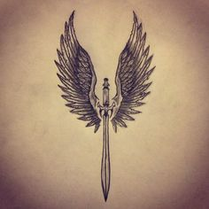 Angel Wings / Sword tattoo sketch by - Ranz:                                                                                                                                                     More