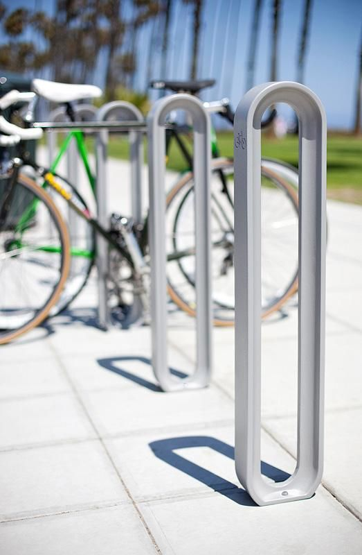 Olympia Bike Racks shown with Aluminum Texture powdercoat