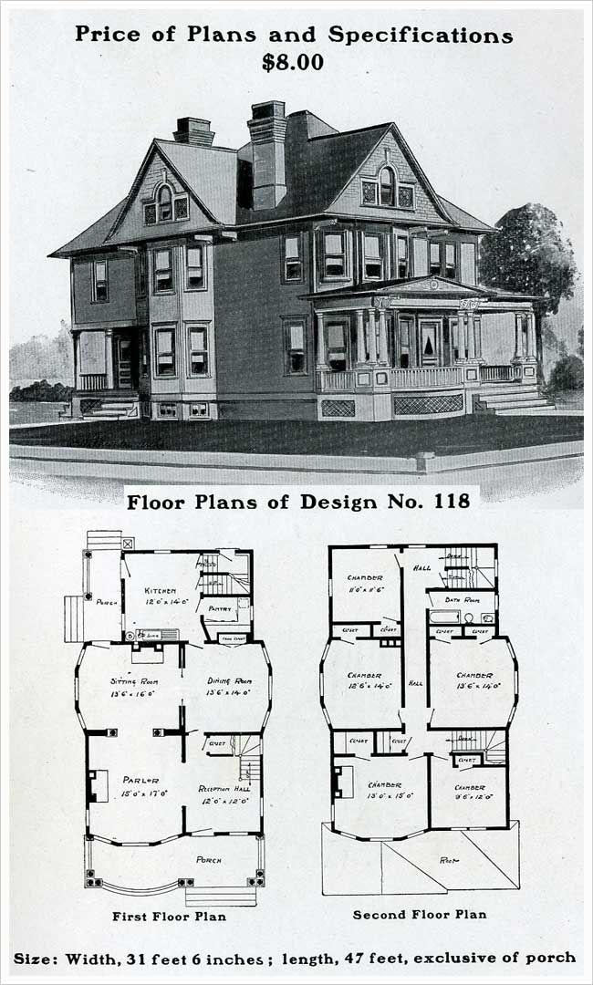 House plans with porch on second floor for Vintage floor plans