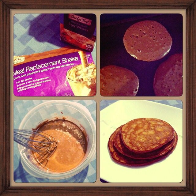 Chocolate Meal replacement shake pancakes. 6 tbsp egg whites, 1 tbsp water, mix with 1 envelope chocolate MRS & cook on stovetop or skillet. Yum!!! #advocare #mealreplacementshakes #healthy