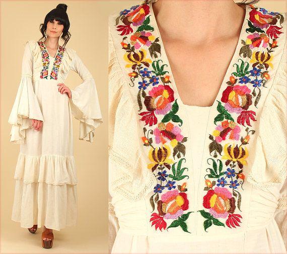 ViNtAgE años 70 India gasa algodón campana Maxi vestido / /