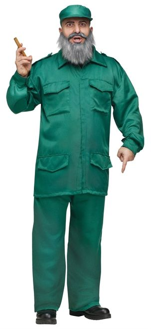 Fidel Castro Cuban Halloween Costume - When impersonating a Cuban dictator, make sure you have the attitude and all the right accessories. This Costume comes with a military style jacket with gold buttons on the epaulets and big pockets down the front. There's a pair of matching pants with an elastic waist. A matching military hat is also included to top off the costume. #fidel #castro #yyc #costume #uniform