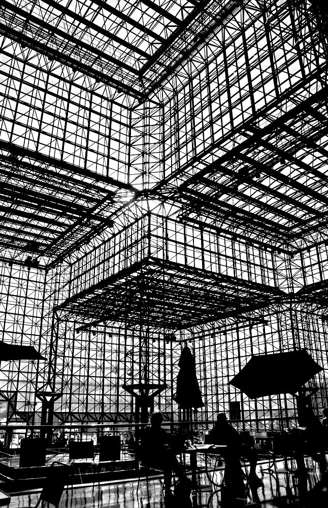 """Mr. & Ms. Architectural Silhouette Enjoy Lunch with I.M. Pei"" Javits Center, NY - © Timothy Schenck"