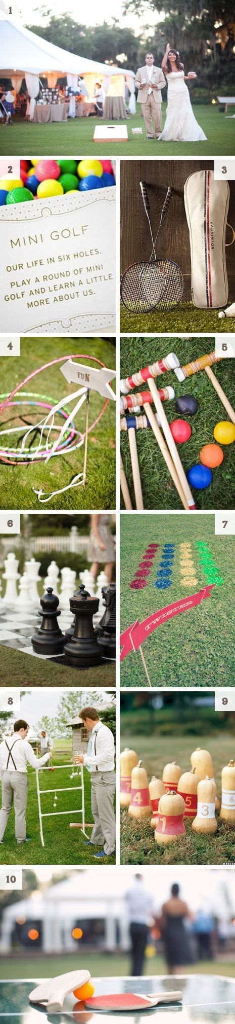 wedding lawn games. Love these. This avoids people sitting getting bored or just standing around. I love this idea. I want people to have fun at my wedding.