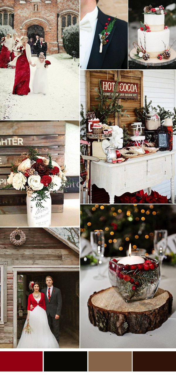 red rustic chritsmas wedding color inspiration for winter weddings