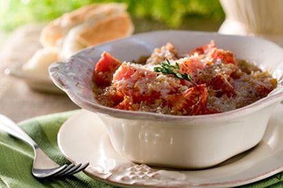 Crevettes gratinées aux légumes et bacon #recettesduqc #souper #crevette #bacon #fromage