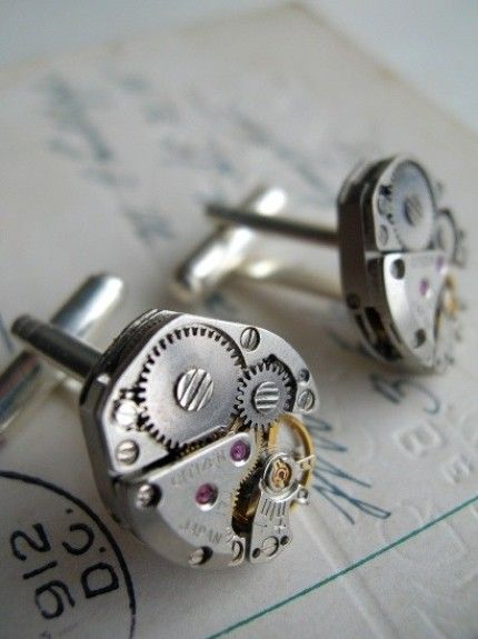 Groom's cufflinks #Steampunk Wedding ... Wedding ideas for brides & bridesmaids, grooms & groomsmen, parents & planners ... https://itunes.apple.com/us/app/the-gold-wedding-planner/id498112599?ls=1=8 … plus how to organise an entire wedding, without overspending ♥ The Gold Wedding Planner iPhone App ♥