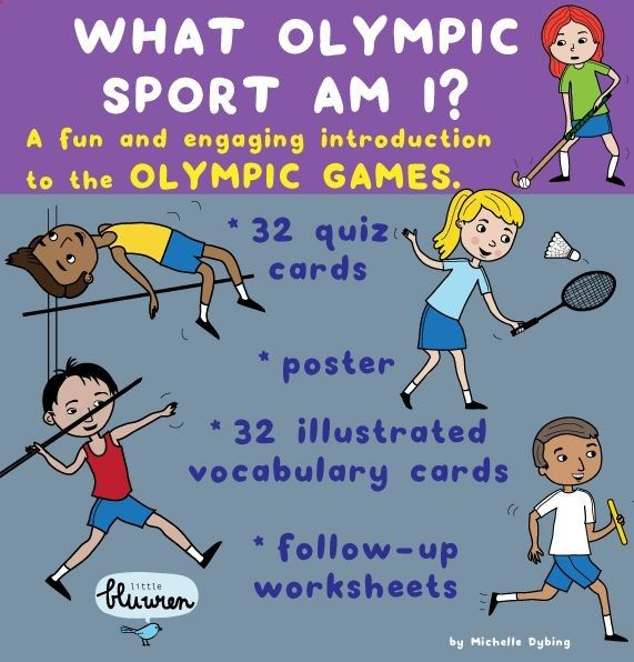 Sports of the Olympic Games: Vocabulary cards and Quiz cards of 32 sports contested at the Olympic Games. This pack is a fun introduction to the Olympic Games. Included are: - 32 originally illustrated Olympic sports vocabulary cards (perfect for word-walls) - 32 Olympic sports quiz cards - 30 Olympic sport match-up cards - 13 follow-up worksheets on the Olympic sports - one poster of the 32 Olympic Sports covered in the pack. To use, simply print, laminate and cut out the cards. These...